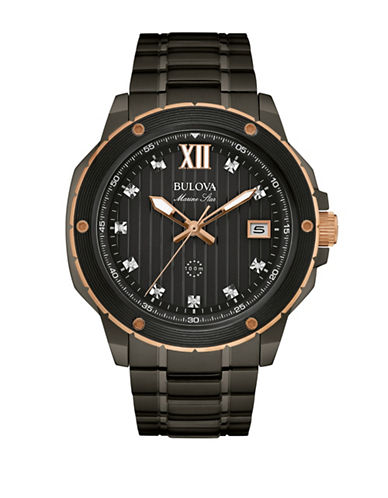 Bulova Analog Marine Star Diamond Collection Two-Tone Bracelet Watch with 0.05 TCW Diamonds-BLACK-One Size