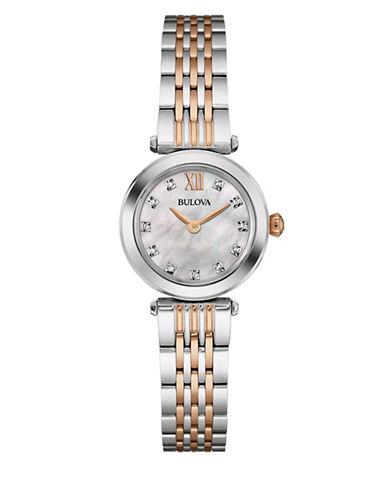 Bulova Analog Diamond Collection Two-Tone Bracelet Watch with 0.04 TCW Diamonds-SILVER/ROSE GOLD-One Size