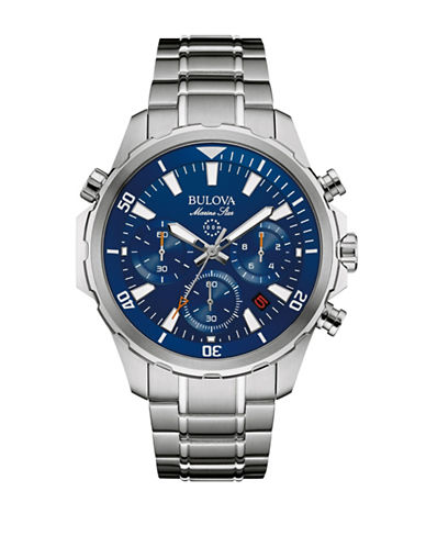 Bulova Chronograph Bulova Marine Star Collection Stainless Steel Watch-SILVER-One Size