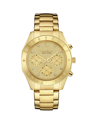 Caravelle New York Chronograph the Boyfriend Collection Goldtone Logo Bracelet Watch-GOLD-One Size