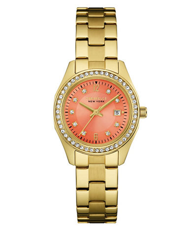 Caravelle New York The Perfectly Petite Collection Three-Hand Calendar Analog Goldtone Bracelet Watch-GOLD-One Size