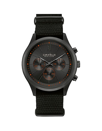 Caravelle New York Chronograph Black Ion-Plated Mesh Strap Watch-BLACK-One Size