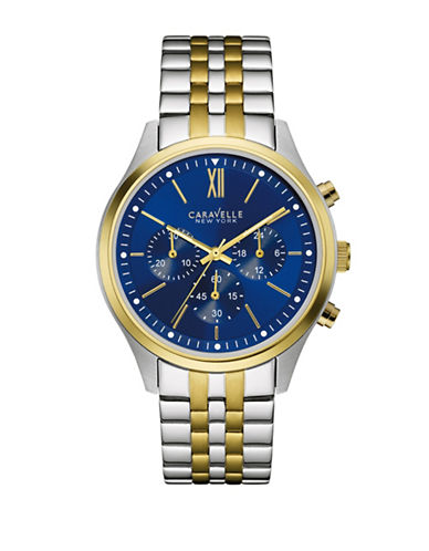 Caravelle New York Chronograph The Dress Collection Two-Tone Stainless Steel Bracelet Watch-SILVER/GOLD-One Size
