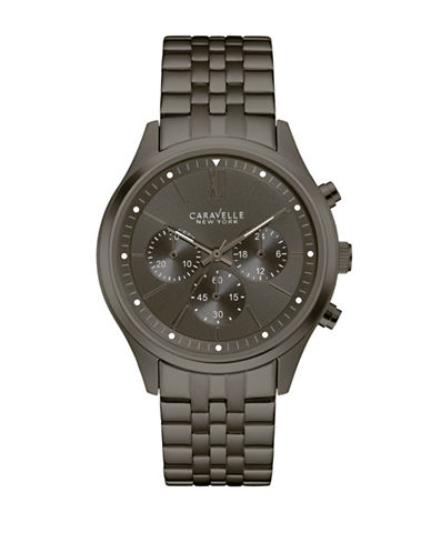 Caravelle New York Chronograph The Black and White Collection Stainless Steel Bracelet Watch-GREY-One Size