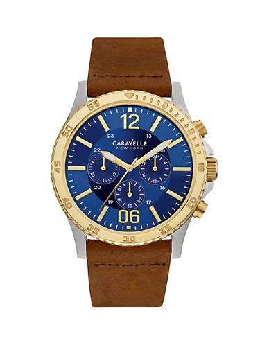 Caravelle New York The Sport Collection Chronograph Goldtone Leather Strap Watch-BROWN-One Size