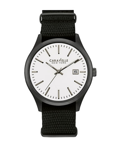 Caravelle New York Analog White Dial Black Mesh Strap Watch-BLACK-One Size