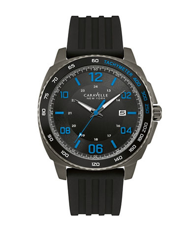 Caravelle New York The Sport Collection Three-Hand Calendar Analog Silicone Strap Watch-BLACK-One Size