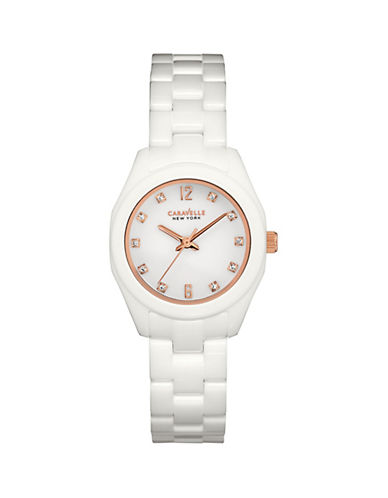 Caravelle New York The Ceramic Collection Three-Hand Sweep Analog Ceramic Bracelet Watch-WHITE-One Size