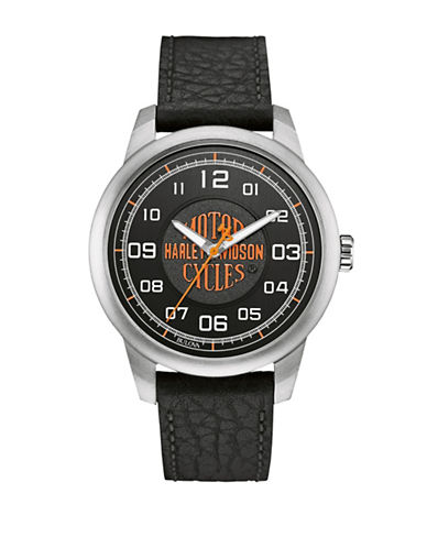 Harley Davidson Analog The Decal Collection Sandblasted Dial Leather Strap Watch-BLACK-One Size
