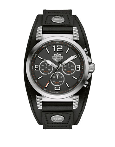 Harley Davidson The Road King Stainless Steel Chronograph Watch-BLACK-One Size