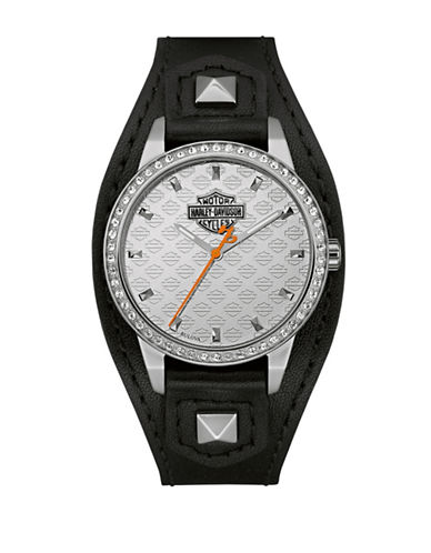 Harley Davidson The Shaped Cuff Stainless Steel Analog Watch-BLACK-One Size