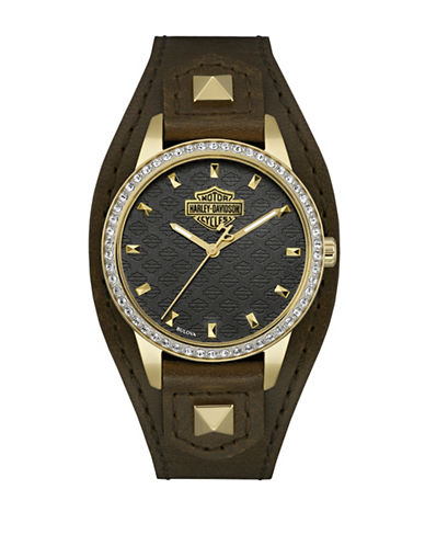 Harley Davidson The Shaped Cuff Goldtone Stainless Steel Analog Watch-BROWN-One Size