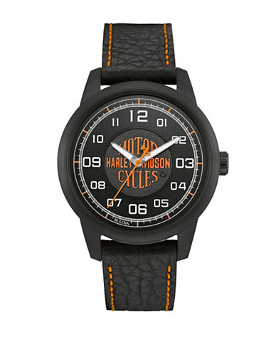 Harley Davidson The Decal Collection Emblem Leather Strap Watch-BLACK-One Size