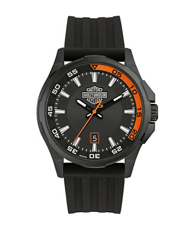Harley Davidson Analog Black Dashboard Collection Silicone Strap Watch-BLACK-One Size