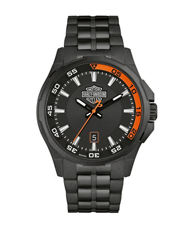Harley Davidson Analog Black Dashboard Collection Stainless Steel Bracelet Watch-BLACK-One Size