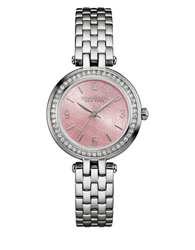 Caravelle New York Analog Engraved Floral Stainless Steel Bracelet Watch-SILVER-One Size