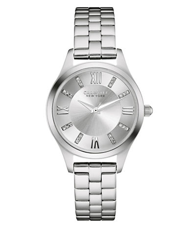 Caravelle New York Analog Stainless Steel Three Strap Gift Set Watch-SILVER-One Size