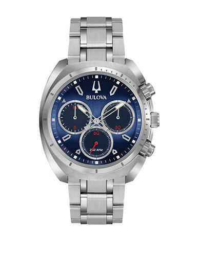 Bulova Chronograph Curv Stainless Steel Watch-GREY-One Size