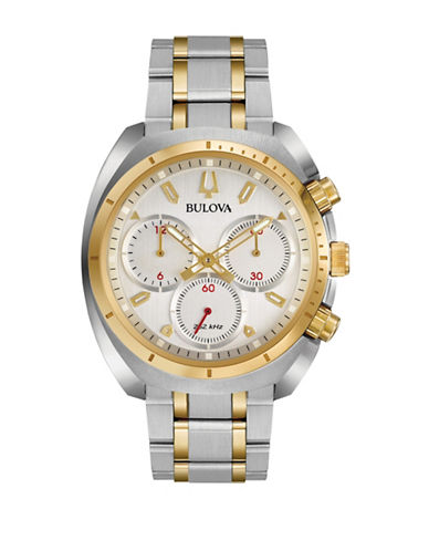 Bulova Chronograph Curv Collection Stainless Steel Watch-SILVER-One Size