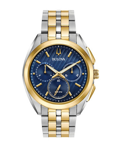 Bulova Chronograph Curv Collection Two-Tone Stainless Steel Watch-BLUE-One Size