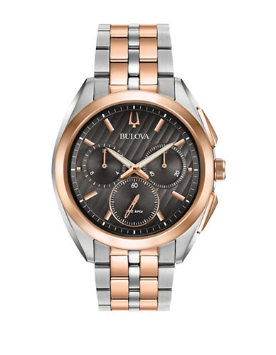 Bulova Chronograph Curv Collection Two-Tone Stainless Steel Watch-BROWN-One Size