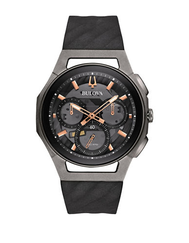 Bulova Chronograph Curv Collection Silicone and Stainless Steel Watch-BLACK-One Size