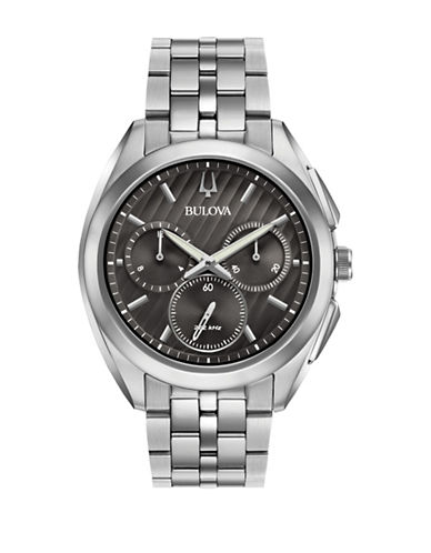 Bulova Chronograph Curv Stainless Steel Watch-BLACK-One Size