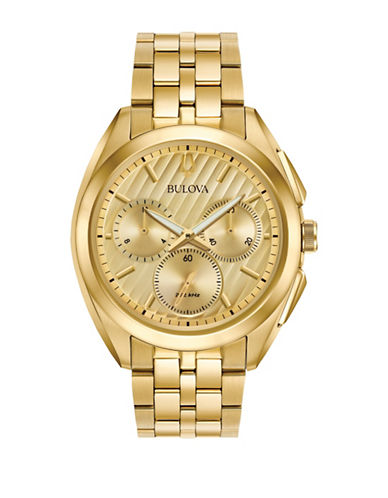 Bulova Curv Chronograph Watch-GOLD-One Size