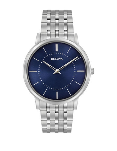 Bulova Analog Classic Collection Stainless Steel Bracelet Watch-WHITE-One Size
