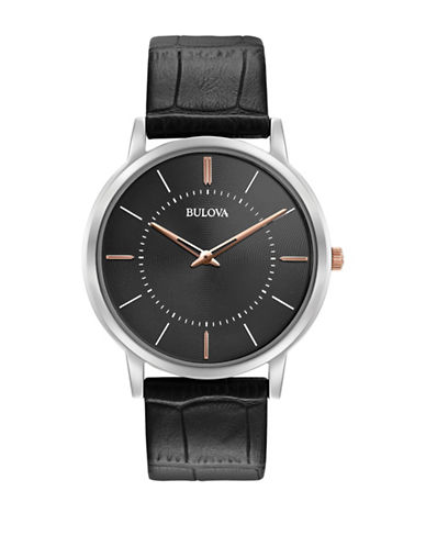 Bulova Analog Classic Collection Two-Tone Leather Strap Watch-WHITE-One Size