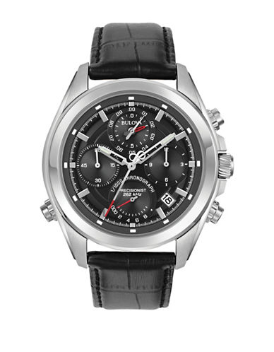 Bulova Chronograph Precisionist Leather Strap Watch-BLACK-One Size