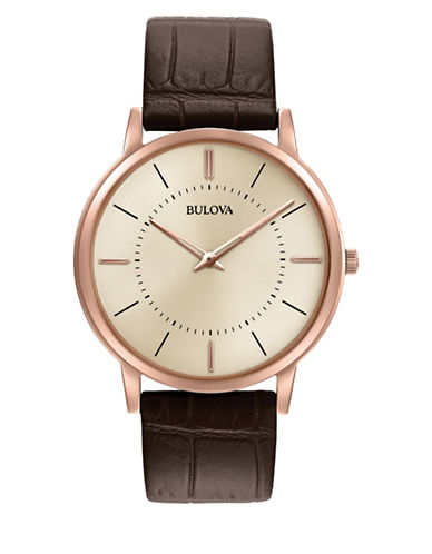 Bulova Analog Rose Goldtone Stainless Steel Strap Watch-BROWN-One Size