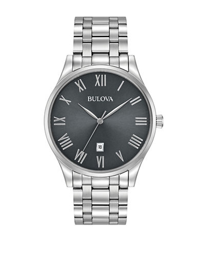 Bulova Classic Stainless Steel Analog  Bracelet Watch-SILVER-One Size