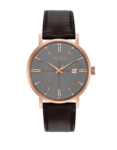 Bulova Analog Rose Goldtone Leather Strap Watch-BROWN-One Size