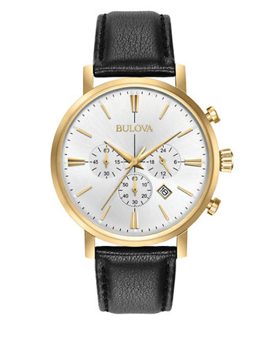 Bulova Chronograph Goldtone Leather Strap Watch-GOLD-One Size