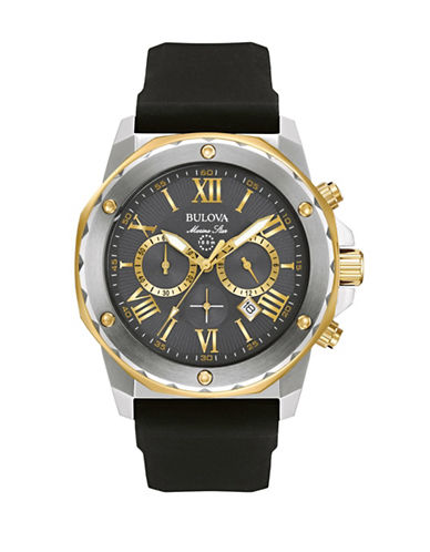 Bulova Chronograph Marine Star Two-Tone Silicone Strap Watch-BLACK-One Size
