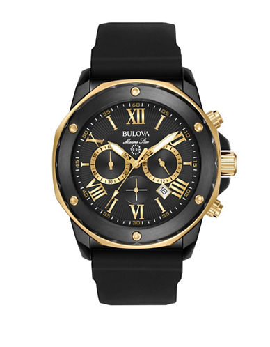 Bulova Marine Star Chronograph Watch-BLACK-One Size
