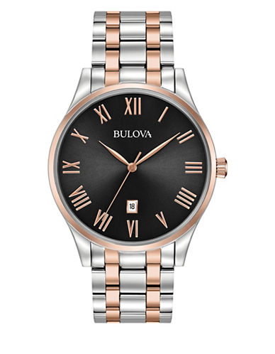 Bulova Analog TT Stainless Steel and Rose Goldtone Watch-MULTI-One Size