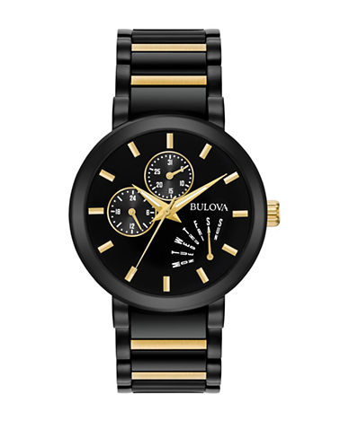 Bulova Analog Multifunction Black Stainless Steel and Goldtone Watch-MULTI-One Size
