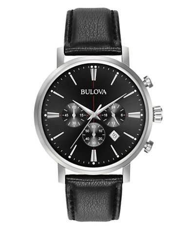 Bulova Chronograph Black Leather Strap Watch-BLACK-One Size