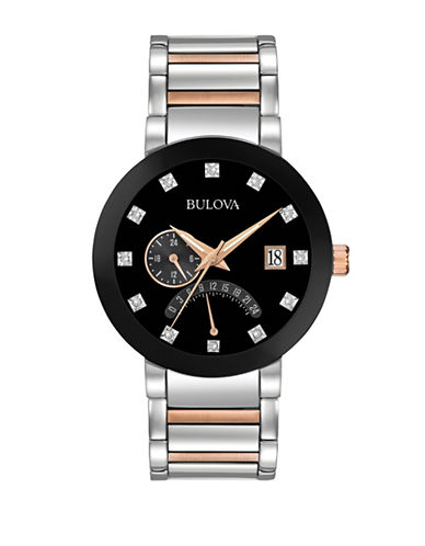 Bulova Analog Multifunction Diamond Detailed Stainless Steel and Goldtone Watch-MULTI-One Size