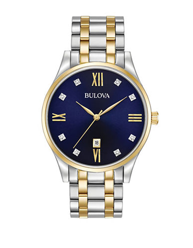 Bulova Analog Diamond Stainless Steel Bracelet Watch-MULTI-One Size