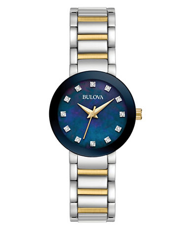 Bulova Analog Mother-of-Pearl Stainless Steel Watch-MULTI-One Size