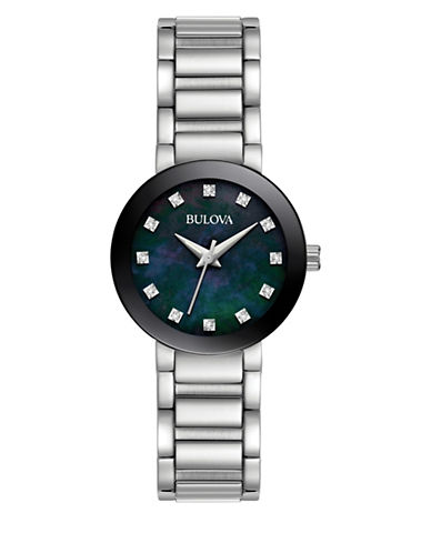 Bulova Analog Accent Stainless Steel Bracelet Watch with 0.04 TCW Diamonds-SILVER-One Size