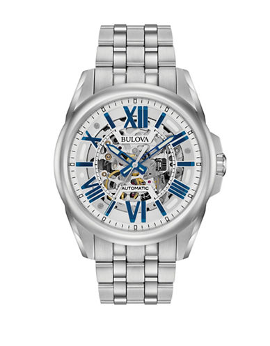Bulova Automatic Stainless Steel Mechanical Watch-WHITE-One Size