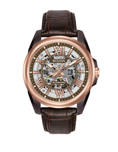 Bulova Automatic Rose Goldtone Leather Strap Watch-BROWN-One Size