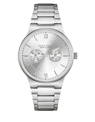 Caravelle New York Chronograph Monochrome Stainless Steel Bracelet Watch-SILVER-One Size