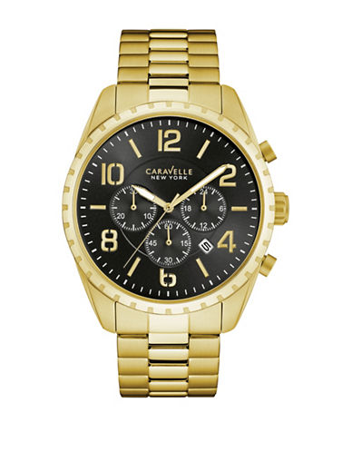 Caravelle New York Analog Notched Goldtone Bracelet Watch-GOLD-One Size