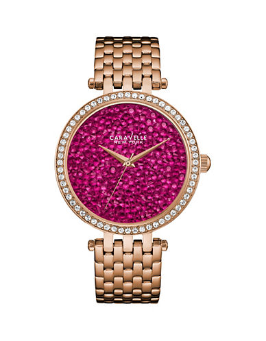 Caravelle New York Analog Pave Dial Rose-Goldtone Bracelet Watch-ROSE GOLD-One Size