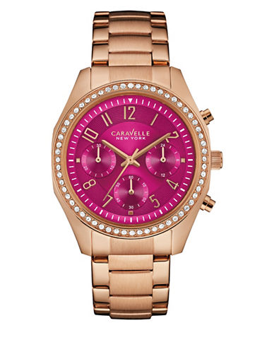 Caravelle New York Chronograph Rose Goldtone Bracelet Watch-ROSE GOLD-One Size